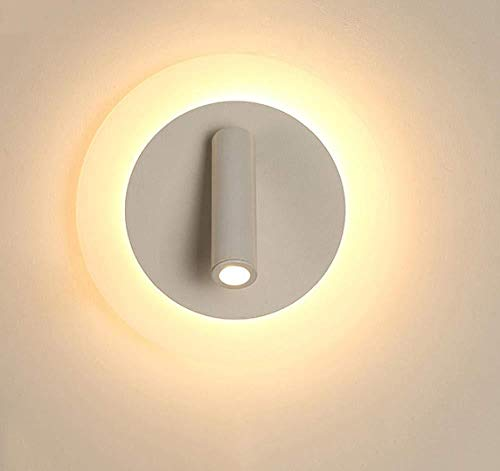Lámpara de pared LED de cabecera simple lámpara de lectura pasillo giratorio sala de estar lámpara de hueco de escalera - diamante redondo Luz: Amazon.es: Iluminación