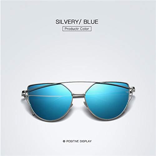 Taiyangcheng Mode Sonnenbrillen Frauen männer cat Marke cat Sonnenbrille Damen Oversize schwarz Spiegel klar,Silber Blau