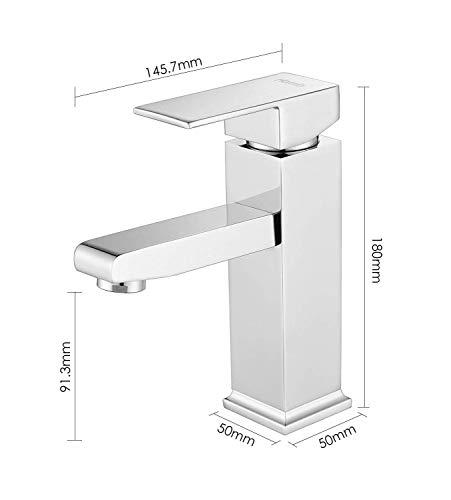 MVPower® Wasserhahn Waschtischarmatur Einhandmischer Waschbecken Bad Küche Armatur Messing verchromt massiv - 3