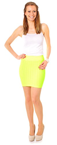 Easy Young Fashion Stretch Struktur Minirock uni One Size Neon Gelb