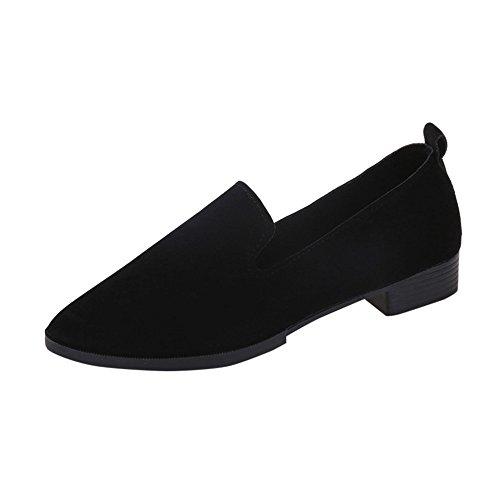 Yvelands Damen Slip On Flache Sandalen Freizeitschuhe Feste Mode Loafer(Schwarz,36 EU)