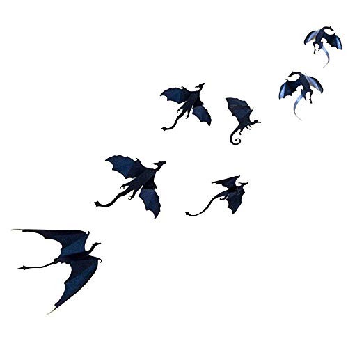 Dazonge Dragon Wand Decals-7 Pack Viel Game of Thrones spired DIY Halloween Gothic 3D Abnehmbare Dragon Wall Aufkleber für Decor, Home Dekoration.