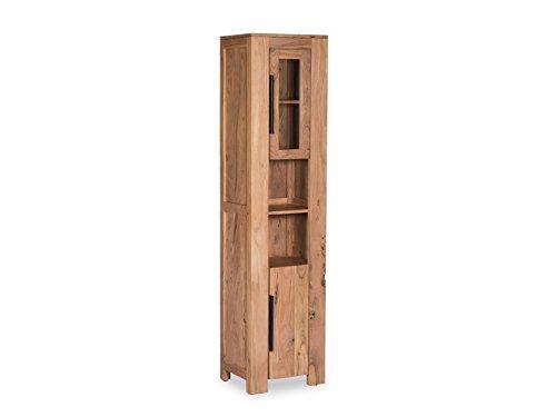 Woodkings® Hochschrank Auckland Echtholz Akazie Badhochschrank massiv Badmöbel Badezimmer Badezimmerhochschrank Badschrank Bad Wandschrank Massivholz
