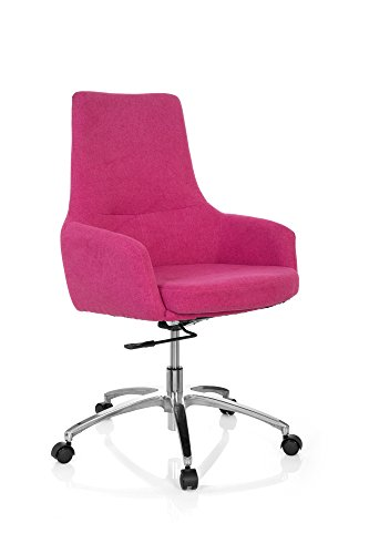 hjh OFFICE 670924 Design Drehsessel SHAKE 100 Stoff Pink Büro Lounge-Sessel mit Lehne höhenverstellbar