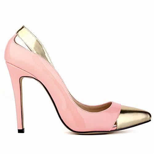 Top Shishang Frauen Spitze Zehe Ankle Tie Glitter High Heel Slip auf sexy Partybar Hochzeit, Pink Gold, 40 -