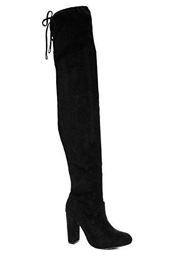 Damen Schwarz Sadie Overknee-stiefel Mit Bindung Und Blockabsatz Schwarz