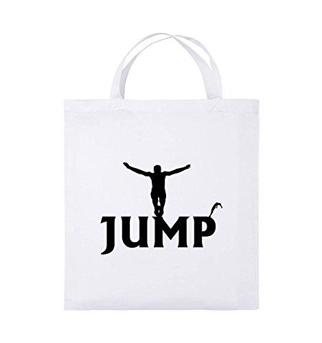 Comedy Bags - JUMP - FIGUR - Jutebeutel - kurze Henkel - 38x42cm - Farbe: Schwarz / Pink Weiss / Schwarz