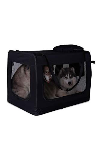dibea TB10024 Hundetransportbox Hundetasche Faltbare Autobox Kleintiertasche (Größe und Farbe wählbar), schwarz
