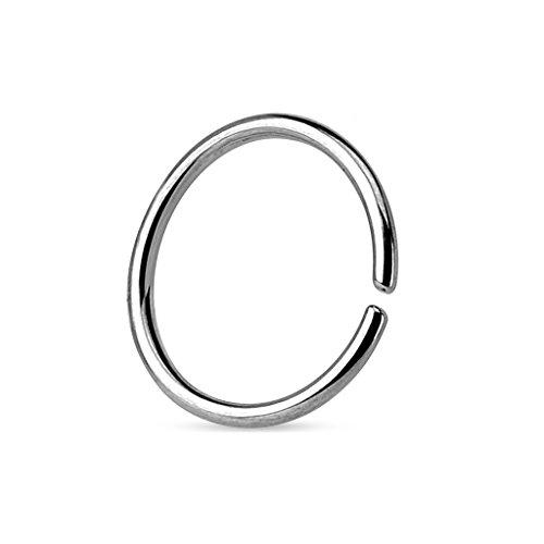 Coolbodyart Tapsi´s Piercing Nase Ohr Septum Fake Edelstahl Chirurgenstahl 316L Silber Stärke 0,8 mm Länge 6 mm