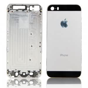 Protective Back Cover Case with Logo for iPhone 5S Silver + Black