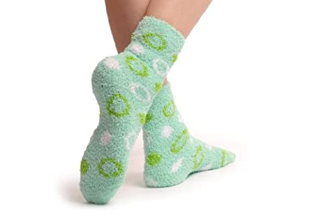 Green With White & Lime Green Circles Luxury Soft Feather Touch Bed Lounge Socks - Vert Chaussettes Taille Unique (37-42)