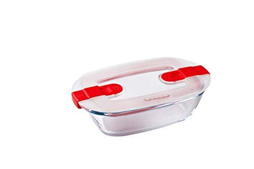 Pyrex - Cook & Heat - Plat Rectangulaire en Verre avec Couvercle Hermétique Spécial Micro-Ondes - Boîte de Conservation - Cuisinez au Four, Conservez et Réchauffez