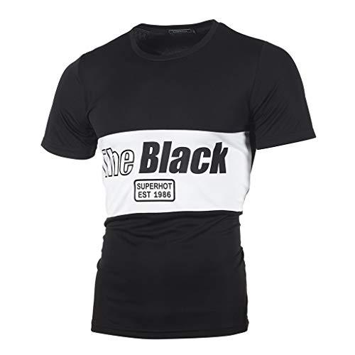 JUTOO Herren T Shirt Tops Mode Lässig Dünne Buchstaben Gedruckt Kurzarm (Schwarz,L)