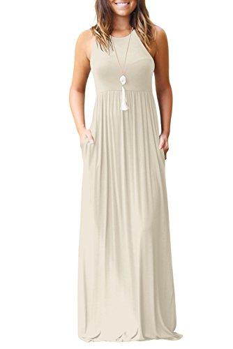Bequemer Laden MaxiKleid Damen Sommer Ärmellos Baggy Plain Sommerkleid Casual Lange Kleider mit Taschen Beige-XL