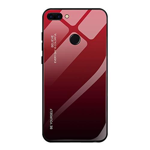 Fantasyqi Handyhülle Kompatibel mit Huawei P Smart 2018/ Enjoy 7S Hülle Hochwertigem Gehärtetem Glas Rückseite mit TPU Rahmen Stoßfest Ultradünne Schale Kratzfest Ultradünn Schutzhülle Slim Shell Case