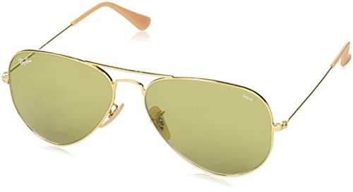 RAYBAN JUNIOR Unisex-Erwachsene Sonnenbrille Aviator Gold/Photogreen, 58