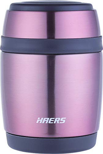 HAERS Double Wall Vacuum Insulated Thermal Lunch Box, Meal Container, Thermos Tiffin, Meal Jar, Food Jar for Hot & Cold Food & Soup 6-12 Hours 480 millilitres, Rose Gold