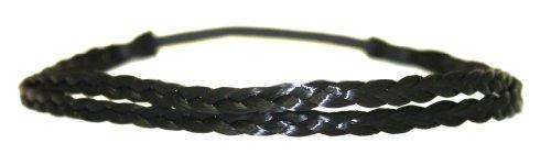 Geflochtenes Haarband doppelt bzw. 2-fach Zopf elastisches Haarband Haaraccessoire Haarteil Stirnband Extensions Kunsthaar in schwarz von der Marke MyBeautyworld24