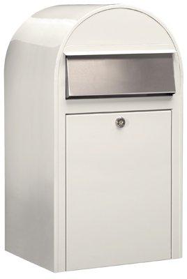 Bobi Grande Briefkasten RAL 9016 weiß, Klappe aus Edelstahl Wandbriefkasten