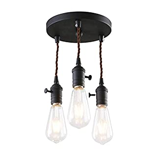 Phansthy Vintage Style Pendant Light Industrial Retro 3 Lights Cluster E27 Edison Lamp Holder for Kitchen Loft Hallway Decorative Lighting