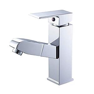 Auralum – Grifo Monomando Cuadrado Mezclador de Lavabo Baño con Caño Extraíble Laton y Cromado para Fría y Caliente
