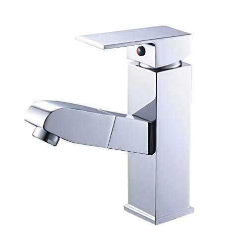 Auralum Wasserhahn fürs Bad mit herausziehbare Brause, Mischbatterie für Waschtisch und Badezimmer
