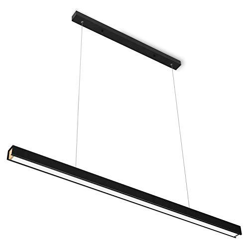 LED Pendelleuchte Schwarz Höehenverstellbar, Modern Design 46W Pendellampe Schwarz Hängelampe, Hängeleuchte, Esszimmerlampe, Esstischlampe 3000K Warmweiß für Büro Esszimmer Schlafzimmer