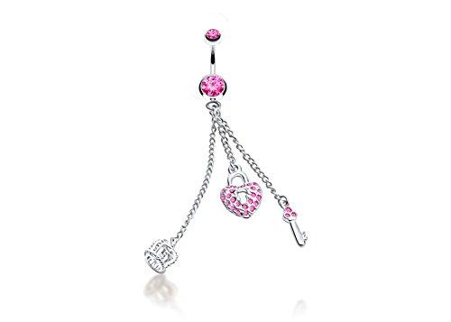 JEWELS Fashion Edelstahl baumeln Rosa Herz, Schlüssel & Krone Bauch Ring (Belly Button Piercing Krone)