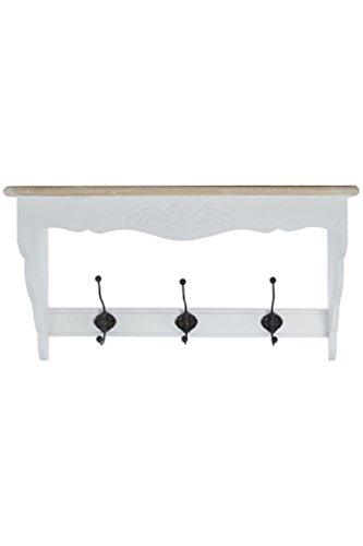 Elbmöbel.de - appendiabiti da parete con ganci e mensola, in legno massiccio, stile rustico, colore: bianco/marrone