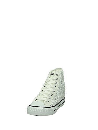 CAF NOIR ODG902 chaussures blanches femme mi sheakers paillettes tissu de coin Blanc