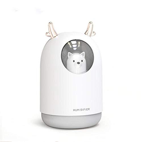Caodong 300ML Pet Humidificador de Aire ultrasónico USB Temporizador Aroma Difusor de Aceite Esencial Niebla Fresca con luz para el Coche de la habitación@Blanco