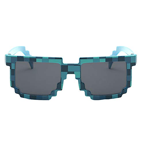 Unisex Retro-Platz Mosaik Sonnenbrille Pixel Trendy-Mine-Craft-Gläser Mit Kasten Für Frauen Männer Kinder