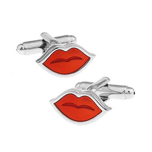 KnBoB Herren Manschettenknöpfe Lippen Silber Rot Manschettenknöpfe für Kostüm Hochzeit Hemd Geschäft Hemd