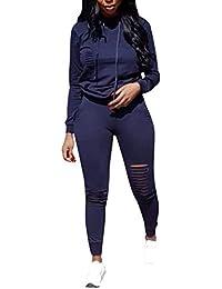 Survêtement Suit Femme, Manche Longue Sweats à Capuche Pull avec Cordon + Longs Pantalon Casual Sports Running Ensemble de Sportswear 2pcs S M L XL XXL XXXL