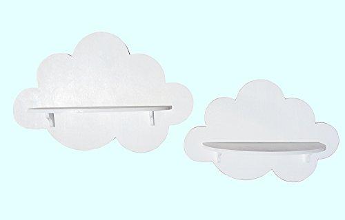 Coppia mensoline di legno a forma di nuvole (bianco)
