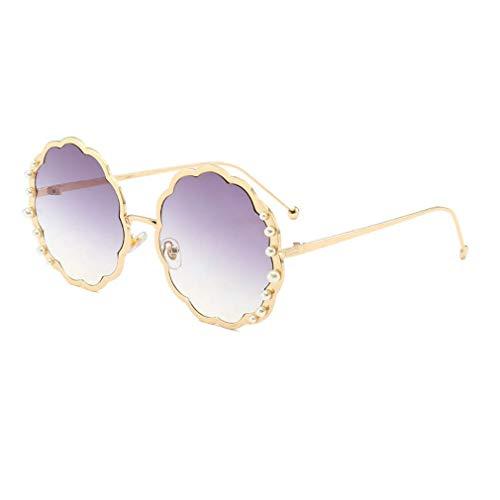 HQMGLASSES Round Sungbrillen für die Damenmode-Designerin Pearl Frame & Circle Tinted Gradient Lens Glasses UV400,02