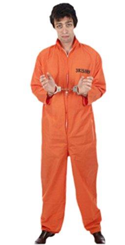 erdbeerloft - Herren Gefangener, Gefängnisinsasse, Verbrecher Kostüm, M/L, Orange