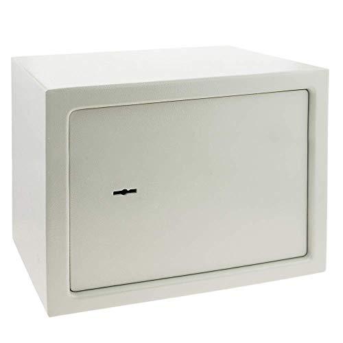PrimeMatik - Caja Fuerte de Seguridad de Acero y con Llaves 35 x 25 x 25 cm Beige