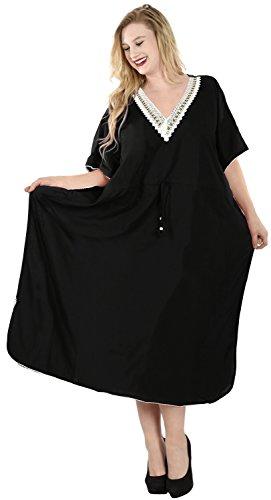 La Leela tout en 1 dames rayonne fête cocktail prom bikini taille plus tunique couvrent le dessus robes chambre maillots bain cordon serrage profond col maxi longue soirée caftan ROBE femme noir