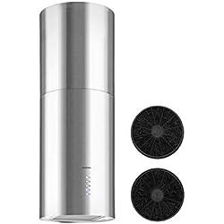 Klarstein Beretta - Hotte aspirante, 3 niveaux de puissance, 650m³/h, Inox poli, 35cm de diamètre, Installation flottante, Filtre graisse, Filtre charbon actif, Argent
