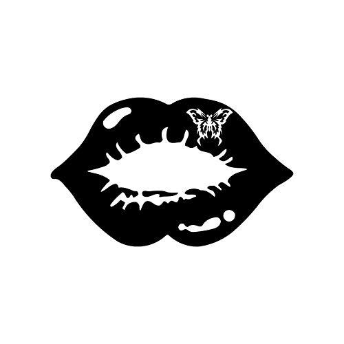 15CMx9.3CM Butterfly Kiss Sexy Lips Mouth Car Sticker Vinyl Decal Black/White C3-0328 (Lip Scrub Kiss)