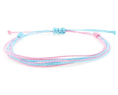 100% Wasserfestes Surfer Armband | Stoffband | Verschiedene Farben | Größenverstellbar | Damen und Mädchenarmband | Surferstyle | Neu (Türkis-Pink)