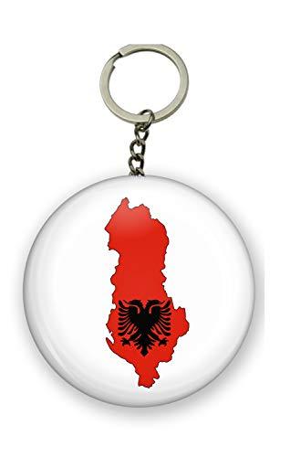 Gifts & Gadgets Co. Schlüsselanhänger Albanischer Flagge auf Einer Karte von Albanien mit Flaschenöffner, rund, 58 mm