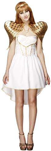 Ladies Sexy Golden Angel Christmas Xmas Festive White Fairy Wings Fancy Dress Costume Outfit (UK 8-10)
