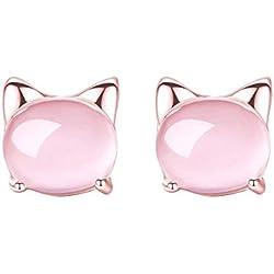 WikiMiu Pendientes para Mujer, Pendientes de gato de cristal rosa opal, Joyería de moda dulce para mujer para el día de san valentín de cumpleaños (Oro rosa)