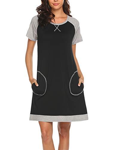 MAXMODA Damen Nachthemd Nachtkleid Rund-Ausschnitt Kurzarm Star Print Sleepwear Nachtwäsche Kleid Casual mit Tasche Schwarz S