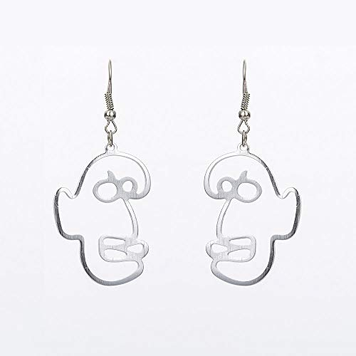WANG Trendy Gold Farbe Abstrakt Menschliches Gesicht Baumelnde Ohrringe Aussage Ohrschmuck Für Frauen Schmuck Ohrringe, 2