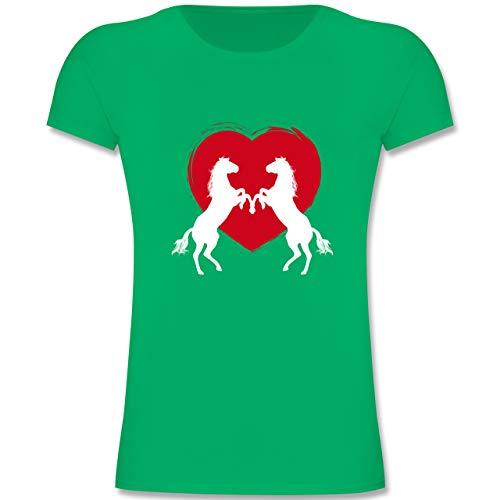 Tiermotive Kind - Pferde mit Herz - 140 (9-11 Jahre) - Grün - F131K - Mädchen Kinder T-Shirt