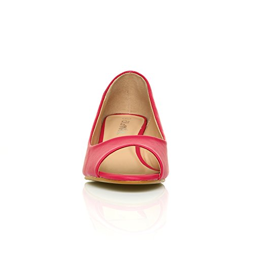 ShuWish UK - Chaussures Honey Fuchsia PU Cuir Talons Mi-Hauts Compensé Bout Ouvert FUCHSIA PU