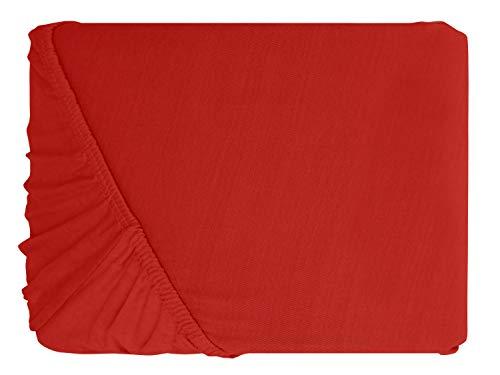npluseins klassisches Jersey Spannbetttuch - erhältlich in 34 modernen Farben und 6 verschiedenen Größen - 100% Baumwolle, 70 x 140 cm, Rubin